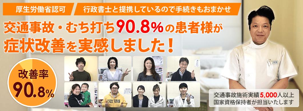 津島市の交通事故治療において90.8%の患者様が症状改善を実感しました